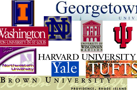 Collage of multiple college logos